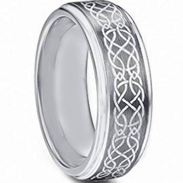 *COI Tungsten Carbide Celtic Step Edges Ring - TG4718