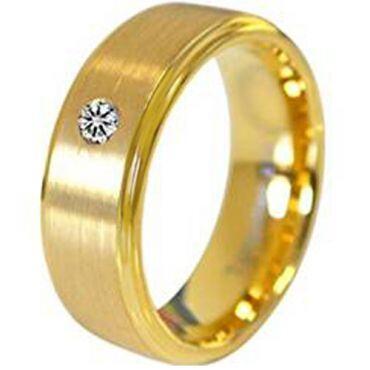 COI Gold Tone Tungsten Carbide Genuine Diamond Ring-TG4720