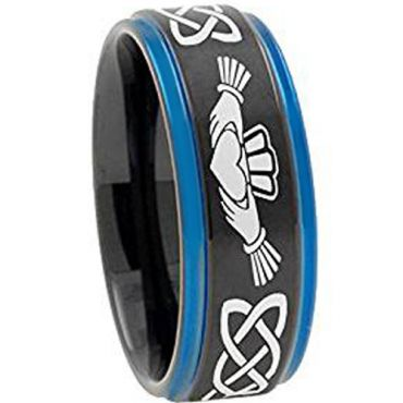 COI Tungsten Carbide Black Blue Mo Anam Cara Celtic Ring-TG4722