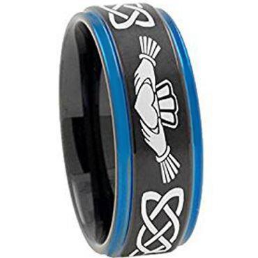 COI Titanium Black Blue Mo Anam Cara Step Edges Ring - 4722AA