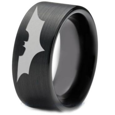 COI Black Tungsten Carbide BatMan Pipe Cut Flat Ring-TG4723