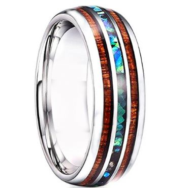 COI Tungsten Carbide Wood & Abalone Shell Dome Court Ring - TG4727