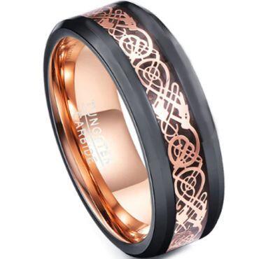 COI Tungsten Carbide Black Rose Dragon Ring - TG4729
