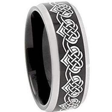 *COI Tungsten Carbide Black Silver Heart Beveled Edge Ring-TG4751