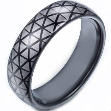 COI Black Tungsten Carbide Hexagon Pattern Ring-TG5248