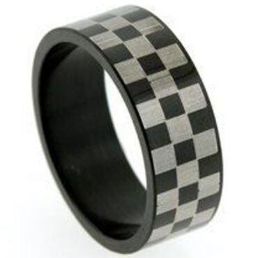 *COI Tungsten Carbide Black Silver Checkered Flag Ring-TG5256