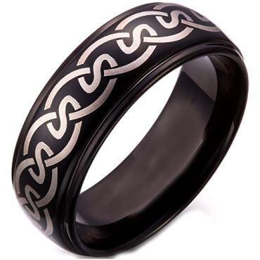 COI Black Tungsten Carbide Celtic Step Edges Ring-TG5258