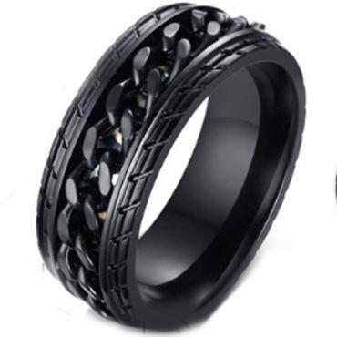 *COI Black Titanium Tire Tread Wedding Band Ring-5262