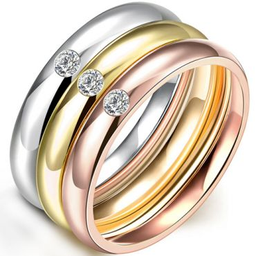 COI Gold Tone Silver Rose Titanium Dome Court Ring With Cubic Zirconia(A Set with 3 Rings)-5263