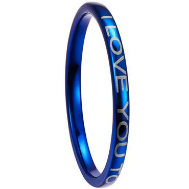 COI Blue Tungsten Carbide I Love You Dome Court Ring -5265