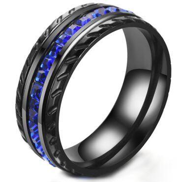 COI Black Titanium Tire Tread Ring With Created Blue Sapphire-5271