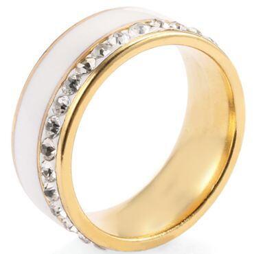 COI Titanium Ring With White Ceramic & Cubic Zirconia-5277