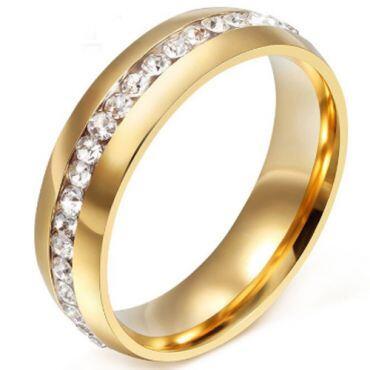 COI Gold Tone Titanium Dome Court Ring With Cubic Zirconia-5287