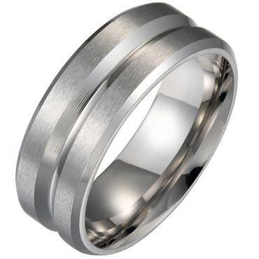 *COI Titanium Center Groove Beveled Edges Ring-5289