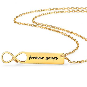 COI Gold Tone Titanium Infinity Custom Name Pendant With Stainless Steel Necklace-5315
