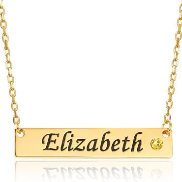 COI Gold Tone Titanium Custom Name Pendant With Stainless Steel Chain and Cubic Zirconia-5317