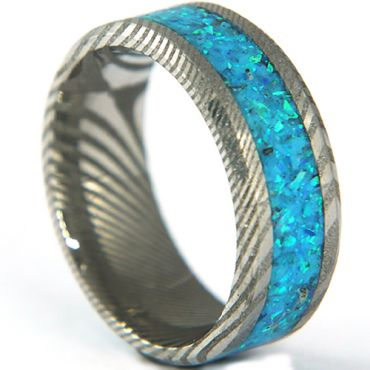 COI Tungsten Carbide Damascus Beveled Edges Ring With Crushed Opal-5318