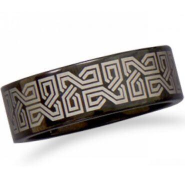 COI Black Tungsten Carbide Celtic Pipe Cut Flat Ring-5327