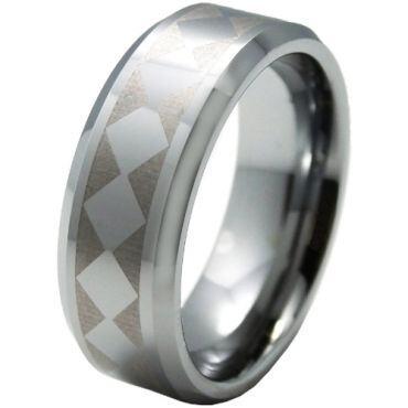 COI Tungsten Carbide Checkered Flag Beveled Edges Ring-5328