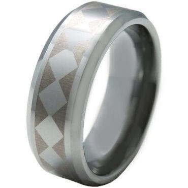 COI Tungsten Carbide Checkered Flag Beveled Edges Ring-TG5328