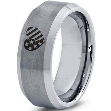 *COI Tungsten Carbide America Heart Beveled Edges Ring-5331