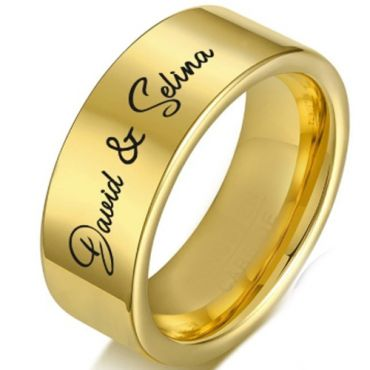 COI Gold Tone Tungsten Carbide Pipe Cut Flat Ring With Custom Engraving-5336