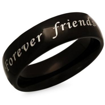 COI Black Tungsten Carbide Forever Friendship Dome Court Ring-5339