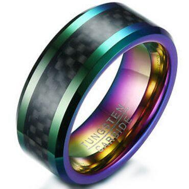 *COI Tungsten Carbide Rainbow Pride Ring With Carbon Fiber-5353