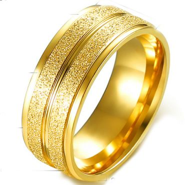 COI Gold Tone Titanium Center Groove Sandblasted Ring-5363