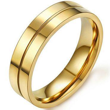 COI Gold Tone Titanium Center Groove Ring-5393