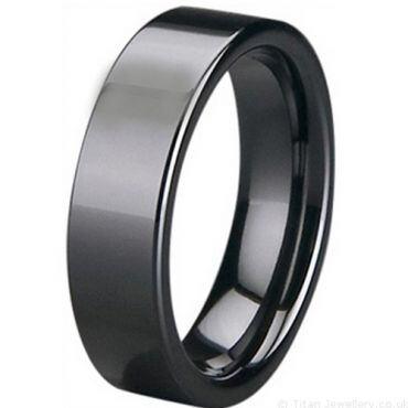 COI Black/White High Tech Ceramic Pipe Cut Flat Ring-5400