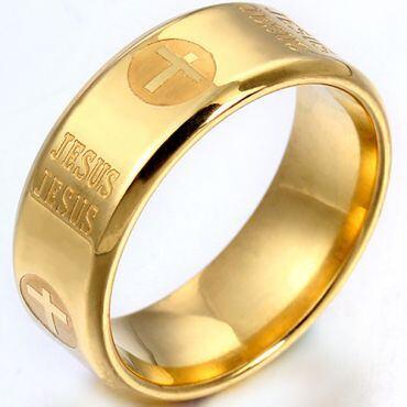 COI Gold Tone Titanium Cross Jesus Beveled Edges Ring-5401