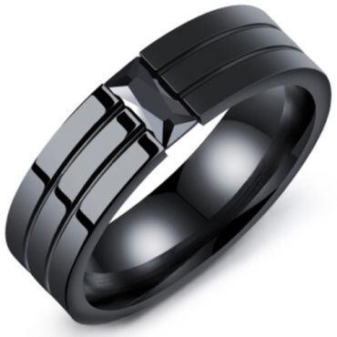 COI Black Titanium Solitaire Ring With Cubic Zirconia-5402