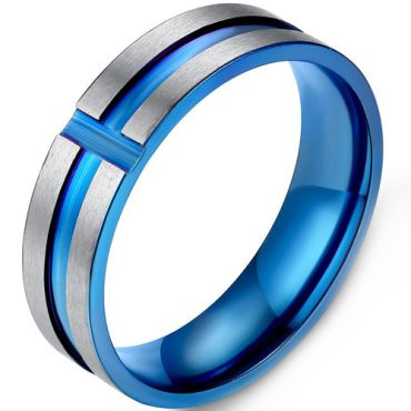 COI Titanium Blue Silver Grooves Ring-5413