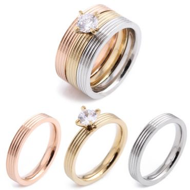COI Titanium Gold Tone Rose Silver Ring Set With Cubic Zirconia(A Set With 3 Rings)-5416