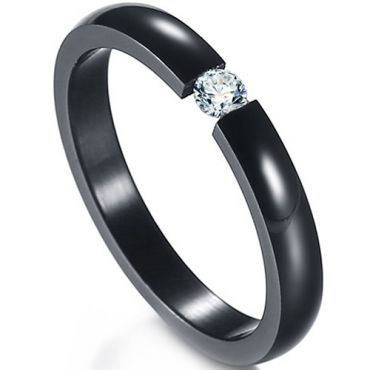 COI Titanium Black/Silver/Gold Tone/Rose Solitaire Ring With Cubic Zirconia-5417