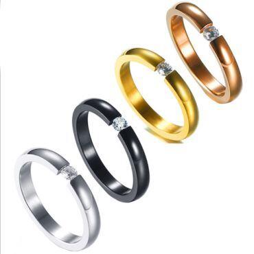 COI Titanium Black/Silver/Gold Tone/Rose Solitaire Ring With Cubic Zirconia-5417