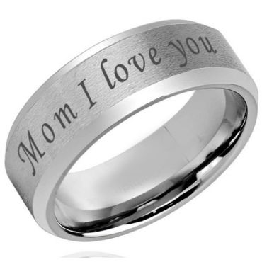 COI Tungsten Carbide Mom I Love You Beveled Edges Ring-5420