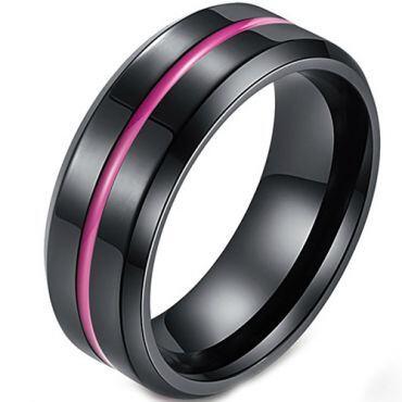 COI Titanium Black Purple Center Groove Beveled Edges Ring-5427