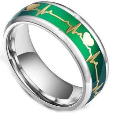 COI Titanium Green Gold Tone Heartbeat Beveled Edges Ring-5428