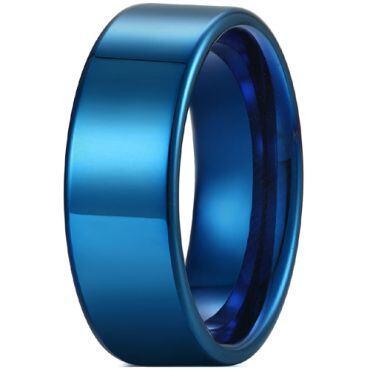 COI Blue Tungsten Carbide 12mm Pipe Cut Flat Ring-TG5429