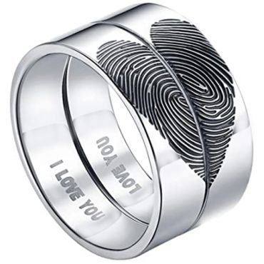 COI Tungsten Carbide Custom Hearts Fingerprint Pipe Cut Ring-5431