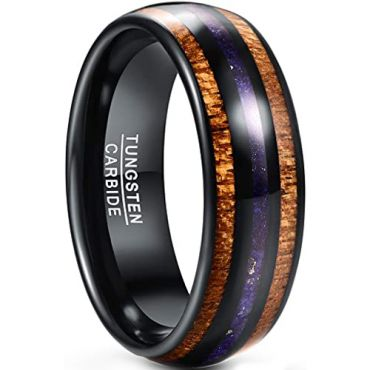COI Black Tungsten Carbide Lapis Lazuli Inlays & Wood Dome Court Ring-5434