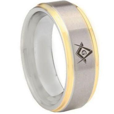 **COI Tungsten Carbide Gold Tone Silver Masonic Step Edges Ring-5442