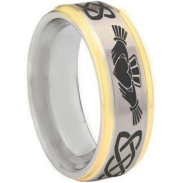 COI Tungsten Carbide Gold Tone Silver Mo Anam Cara Celtic Step Edges Ring-5443