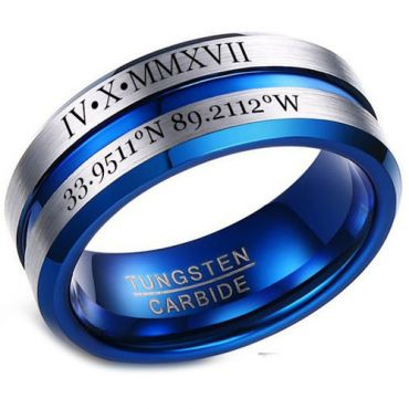 *COI Tungsten Carbide Center Groove Ring With Custom Roman Numerals-5454