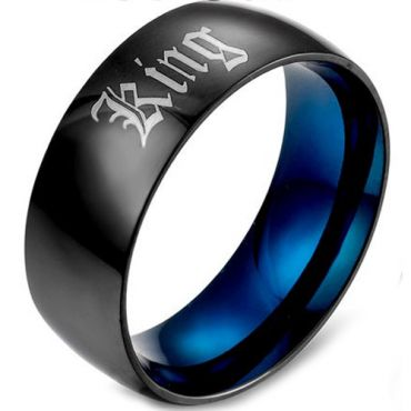 *COI Tungsten Carbide Black Blue King Queen Dome Court RIng-5458