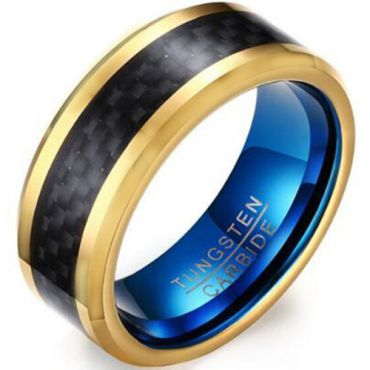 COI Tungsten Carbide Blue Gold Tone Ring With Carbon Fiber-5465