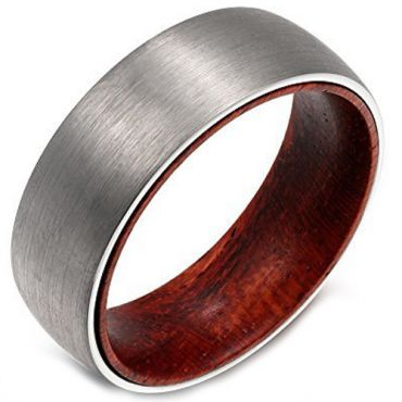 COI Tungsten Carbide Dome Court Ring With Wood-5468