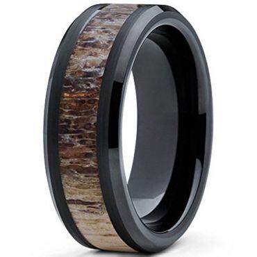 COI Black Tungsten Carbide Deer Antler Beveled Edges Ring-5472